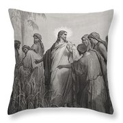 Jesus And His Disciples In The Corn Field Throw Pillow by Gustave Dore