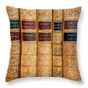 Old Bind Books Throw Pillow by Eleni Mac Synodinos