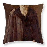 Portrait of Charles Darwin Throw Pillow by John Collier