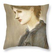 Portrait Of Mrs William J Stillman Nee Marie Spartali Throw Pillow by Sir Edward Coley Burne Jones