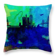 San Francisco Watercolor Skyline 2 Throw Pillow by Naxart Studio