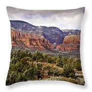 Sedona Arizona in Winter Coat Throw Pillow by  Bob and Nadine Johnston