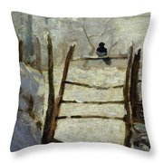 The Magpie Throw Pillow by Claude Monet