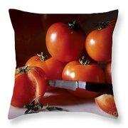 Tomatoes And A Knife Throw Pillow by Bernard Jaubert