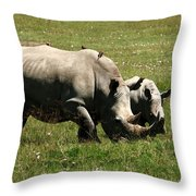 White Rhino Mother And Calf Throw Pillow by Aidan Moran