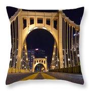 0304 Roberto Clemente Bridge Pittsburgh Throw Pillow by Steve Sturgill