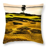 #15 At Chambers Bay Golf Course - Location Of The 2015 U.s. Open Tournament Throw Pillow by David Patterson