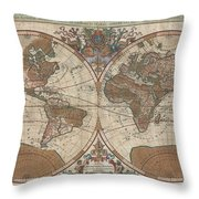 1691 Sanson Map of the World on Hemisphere Projection Throw Pillow by Paul Fearn