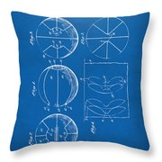 1929 Basketball Patent Artwork - Blueprint Throw Pillow by Nikki Marie Smith