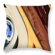 1950 Ford Custom Deluxe Woodie Station Wagon Wheel Throw Pillow by Jill Reger