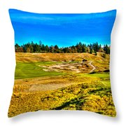 #4 At Chambers Bay Golf Course - Location Of The 2015 U.s. Open Championship Throw Pillow by David Patterson