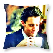 A Damn Fine Cup Of Coffee Throw Pillow by Luis Ludzska