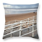 Aberafan Beach Throw Pillow by Tom Gowanlock