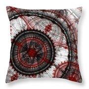 Abstract Mechanical Fractal Throw Pillow by Martin Capek