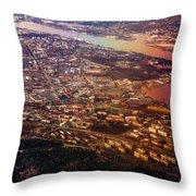 Aerial View of Riga. Latvia. Rainbow Earth Throw Pillow by Jenny Rainbow