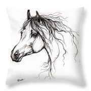 Arabian Horse Drawing 37 Throw Pillow by Angel  Tarantella