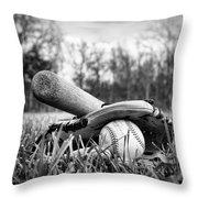 Backyard Baseball Memories Throw Pillow by Cricket Hackmann