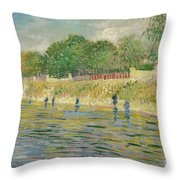 Bank Of The Seine Throw Pillow by Vincent van Gogh