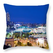 Barcelona And Its Skyline At Night Throw Pillow by Michal Bednarek