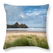 Beautiful Blue Sky Morning Landscape Over Sandy Three Cliffs Bay Throw Pillow by Matthew Gibson