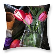 Beautiful Spring Tulips Throw Pillow by Edward Fielding