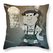 Beer Stein Lederhosen Oktoberfest Cartoon Man Grunge Monochrome Throw Pillow by Frank Ramspott