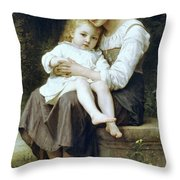 Big Sister Throw Pillow by William Bouguereau