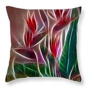 Bird of Paradise Fractal Throw Pillow by Peter Piatt