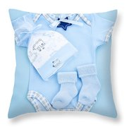 Blue Baby Clothes For Infant Boy Throw Pillow by Elena Elisseeva