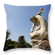 Boy and Dolphin sculpture by Alexander Munro in Hyde Park London England Throw Pillow by Robert Preston