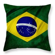 Brazilian Flag Throw Pillow by Les Cunliffe