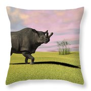 Brontotherium Grazing In Prehistoric Throw Pillow by Kostyantyn Ivanyshen
