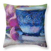 Coffee And Flowers Throw Pillow by Nancy Stutes