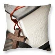 Cross and Bible Throw Pillow by Elena Elisseeva