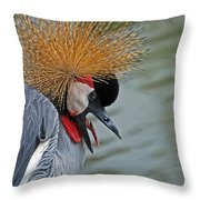 CROWNED CRANE Throw Pillow by Skip Willits