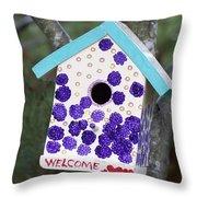 Cute Little Birdhouse Throw Pillow by Carol Leigh