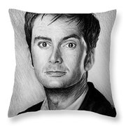 David Tennant Throw Pillow by Andrew Read