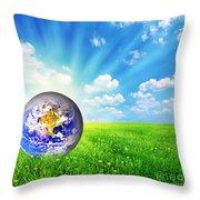 Earth Globe On Green Grass Throw Pillow by Michal Bednarek
