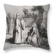 Eliezer And Rebekah Throw Pillow by Gustave Dore