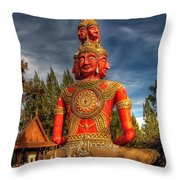 Faces Of Buddha Throw Pillow by Adrian Evans
