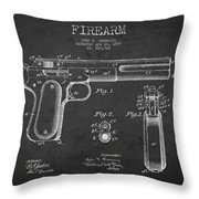 Firearm Patent Drawing from 1897 - Dark Throw Pillow by Aged Pixel