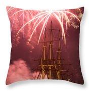 Fireworks Exploding Over Salem's Friendship Throw Pillow by Jeff Folger