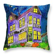 Flight Of The Moon Witch On Hallows Eve Throw Pillow by Janet Immordino