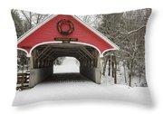 Flume Covered Bridge - White Mountains New Hampshire Usa Throw Pillow by Erin Paul Donovan