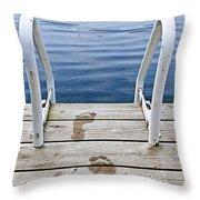 Footprints On Dock At Summer Lake Throw Pillow by Elena Elisseeva