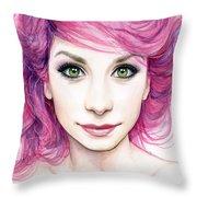 Girl with Magenta Hair Throw Pillow by Olga Shvartsur