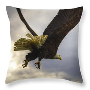 Great American Bald Eagle In Flight Homer Alaska Throw Pillow by Natasha Bishop