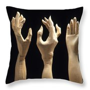 Hands Of Wood Puppets Throw Pillow by Bernard Jaubert