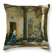Harem Women Feeding Pigeons In A Courtyard Throw Pillow by Jean Leon Gerome