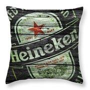 Heineken Throw Pillow by Joe Hamilton